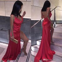 2019 Cheap Sexy Backless Red Split Evening Party Dresses She...