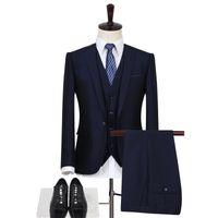 Yüksek Kalite Erkekler suit 3 parça set (Erkekler suit ceket + pantolon + yelek) asya boyutu Sml XL XXL XXXL mens Blazer