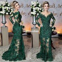 Dark Green Dell of the Bride Abiti Sheer Jewel Neck Neck Lace Appliques Manica lunga Mermaid Mamma Formale Madre Serata da sposa Abiti da ballo