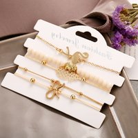 Boho clássico Knot Multilayer Pulseiras Define 5PCS Designer Flamingo abacaxi Bow Encantos Bangles for Wedding Party Mulheres Beach jóias presente