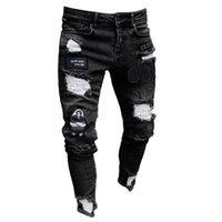 Männer Jeans Männer Stretchy Riss Skinny Biker Stickerei Drucken Zerstörte Loch Taped Slim Fit Denim Zerkratzt