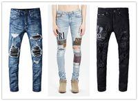 رجل مؤلم كلاسيكي ممزق جينز مصمم العلامة التجارية السوداء جينز نحيل ممزق تمتد تمتد ضئيلة صالح هوب هوب السراويل W29 W40