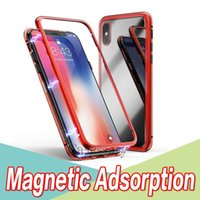 Magnetic Adsorption Tempered Glass Back Panel Phone Case Cov...