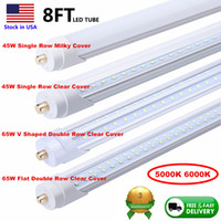 Duplo Row LED Tubos T8 8 pés único pino FA8 45W LED tubo de luz 8 ft 8 pés 100LM / W fluorescente do bulbo Stock Em US