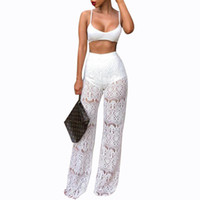 Sexy Lace Pants Women High Waist Hollow Out Loose Lace Crochet Long Women Trousers Black Beach Casual Women Pants