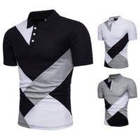 Casual Mens New verão camisetas Polos Geometria patchwork Slim Fit Moda camisas de manga curta Blusas Masculinas