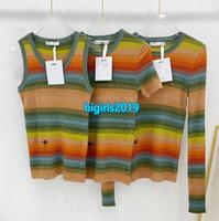 Giros de gama alta niñas punto camiseta tops tops chaleco arco iris motivo con rayas tripulación cuello cuello blusa camisa tee 2020 verano moda milano pista jersey