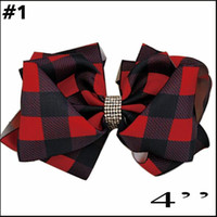 free shipping 5pcs Plaid bows christmas Hair Bows With Clips plaid Kids Girls Princess Handmade Boutique