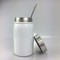 FedEx 500ml Sublimation Weckglas mit Stroh und Deckel Mason Tassen Edelstahl-Wasser-Cup Sommer Trinkgefäße