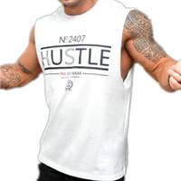 Débardeurs Hommes Débardeurs Sexy Fitness culturisme Respirant été Singlets Cintrées Men « s T-shirts Blanc Noir T M-2XL