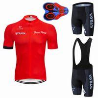 2020 새 빨간 STRAVA 프로 자전거 팀 짧은 소매 남자 사이클링 저지 여름 통기성 사이클링 의류 세트