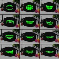 Personalità nero luminoso Maschera Scheletro Donne Equitazione Coppia antipolvere Moda Denti Glow Bocca Maschera Halloween Cosplay Regalo Top