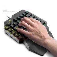الملونة الإضاءة الخلفية USB الألعاب السلكية لوحة المفاتيح الميكانيكية واحدة لعبة واحدة لعبة لوحات المفاتيح 39 مفاتيح مع راحة المعصم لهاتف الكمبيوتر المحمول سطح المكتب