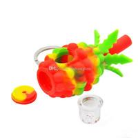 mayor pequeños y estaran en la piña tubo de silicona de mano pipas de colores Bong linda con el recipiente de vidrio extraíble