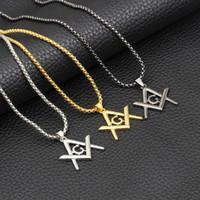 Stainless Steel Necklace Masonic Symbol Freemason Pentagram Religion Jewelry Chain Necklace Gold/ silver/black Masonic Necklace