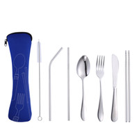 7Pcs / Set 4Pcs / Set Juego de vajilla de acero inoxidable Cuchara de tenedor portátil Cuchillo Set de almuerzo Vajilla de viaje Vajilla con bolsa VF1524 T03