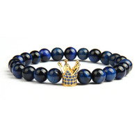 Nuovo Design Blue Cz Crown Mens Beaded Bracelet All'ingrosso 10pcs / lot Natural Color Tiger Eye Lava Stone Beads Nero CZ Crown Bracciali Bangle