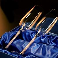 2 pc óculos de casamento champanhe flautas cristalino festa presente brindando vidro goblet cristal gravar presente de aniversário com caixa