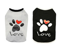 Vest Small Dog Cat Dogs Clothes Paw Print Heart Love Design Cotton T Shirt Pet Puppy Summer Apparel Clothes Dog Shirt Coat