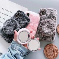 Плюшевые мобильный телефон случае для iphone 11 плюшевой осенью и зимой защитной крышкой 11Pro зеркало для макияжа мобильных телефонных аппаратов на заказ
