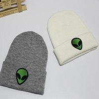 Neue Entwurfs-Strick Grün Alien Hat Bonnet Hip-Hop-Schädel-Geist-Kopf-Stickerei-Hut für Frauen Fashion Beanie Stickerei Herren Accessoires