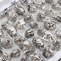 Punk gotico Anello Uomini retro drago serpente tigre del lupo gufo pavone leopardo dei monili di stile della miscela unisex degli animali