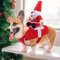 عيد الميلاد ملابس الحيوانات الأليفة جرو الكلب القط الملابس مضحك 3D زي بابا نويل عيد الميلاد الكلب ملابس زينة عيد الميلاد تيدي بلدغ أفطس الصلصال