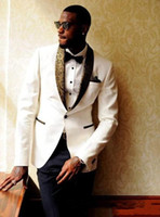 Tuxedos Customs Made 2020 Ivory Groom Tuxedos Groomsmen Shaw...