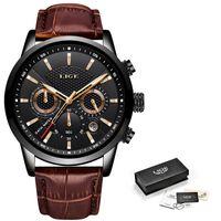 Sport Montre Homme en cuir LIGE nouveaux hommes Montres Top Horloge étanche montre à quartz Relogio avec la boîte