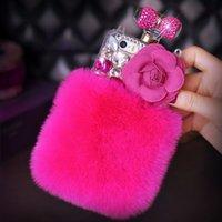 Top designer coelho cabelo diamante case capa para iphone 11pro max xs xr xsmax 7 8plus perfume garrafa forma concha protetora para iphone