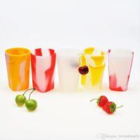 Botella de silicona Copas camuflaje vino tinto de cristal irrompible agua sin pie del vaso de la taza de cerveza al aire libre portátil Copas de alimentación del bebé de la Copa DYP7068