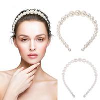 Elegante de la perla grande vendas para las mujeres de moda y lleno de imitación perlas joyería y accesorios anchas Hairband del aro de bisel turbante pelo de la venda Headwear
