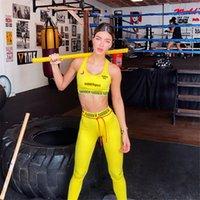 Dos piezas de Yoga verano inconsútil de las mujeres Conjunto de fitness se divierte los juegos Gimnasio Ropa Hogar Ropa amarilla de cintura alta Trajes Ejecución de entrenamiento de 3 colores