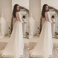2020 semplici eleganti abiti da sposa bohemien scollo a V in pizzo maniche lunghe in chiffon piano lunghezza spiaggia backless abiti da sposa BA4172