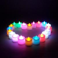 LED Mum Tealight alevsiz Mum Çay Işık Renkli Pil Lambası Doğum Düğün Noel Dekorasyon Işık VT1720 İşlet