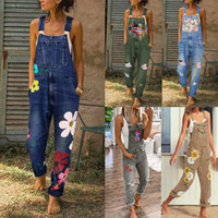 das mulheres Denim Jumpsuits Calças Impresso Jeans Moda Rasgado Buraco Longo Macacão Macacão Feminino Casual Washed Out oco macacãozinho