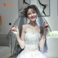 Black Tulle Bridal Wedding Veils Cut Edge One Layer Colorful Glitter Stars Wedding Accessories 1.5 Meters accessoir mariage