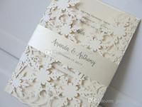 Elegante marfil Shimmy Snowflake troquelado invitaciones de boda con cinturón fiesta de aniversario de cumpleaños invita con impresión gratis envío gratis