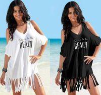 فتاة معطلة الكتف فساتين إلكتروني مطبوعة شاطئ اللباس المرأة الصيف شرابة اللباس بيكيني زائد حجم فضفاض شاطئ اللباس GGA3374
