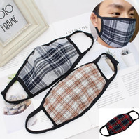 Face Mask Plaid Striped Face Mask Cotton Dust- proof Mouth Ma...