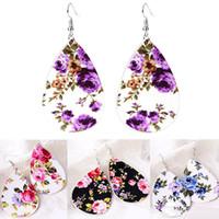Charms Litschi Muster Druck Ohrringe Wassertropfen Leder Ohrbügel Blume Ohrringe Frauen Modeschmuck Weihnachtsgeschenk 6 Stile