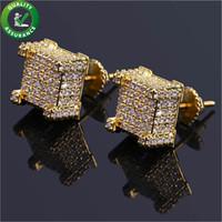 Orecchini firmati hip hop gioielli lussuoso stick orecchino orecchini da uomo orecchini ghiacciati con diamanti zirconi cubici gioielli oro argento bling accessori moda
