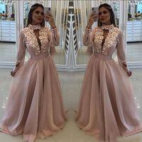 Sexy New Blush Pink Пром платья с длинными рукавами с цветами High Neck Кихол Кристалл бусины органзы Формальное платье партии Вечерние платья Wear EF2