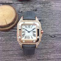 Vendedores calientes de la manera hombres de la marca y los relojes de las mujeres vestido rosa caja del reloj de oro de la correa de cuero de las mujeres de calidad superior impermeable diseñador de relojes