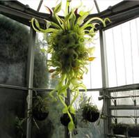 Europäische handgemachte Lampen Nepenthes Chandeliers Lampe Indoor Green Shade Laub Sonstiges Kette Kronleuchter Beleuchtung mit LED-Birnen