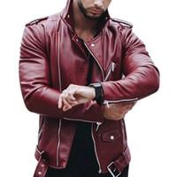 Sonbahar Kış Casual Fermuar PU Deri Ceket Kırmızı Siyah Motosiklet Sahte Ceket Erkekler Slim Fit Streetwear Yeni