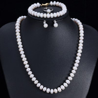 Gute Qualität Echt Natürliche Süßwasser Perle Schmuck Sets Für Frauen 4 Stück Gold Farbe Weiß Rosa Lila Hochzeit Halskette Sets