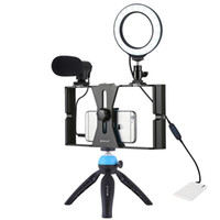 Puluz 4 in 1 Vlogging Canlı Yayın Smartphone Video Rig + 4.7 inç 12 cm Yüzük Mikrofon + Tripod Mount + Soğuk S ile LED Selfie Işık Kitleri