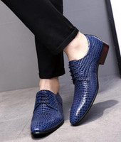 men dress shoes adult crocodile pointed toe wedding fashion ...