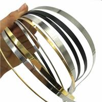 50 st / lot grossist 1,2 mm 3mm 5mm 7mm 10mm silver guld svart metall huvudband för kvinnor män hår hoop diy hårband tillbehör